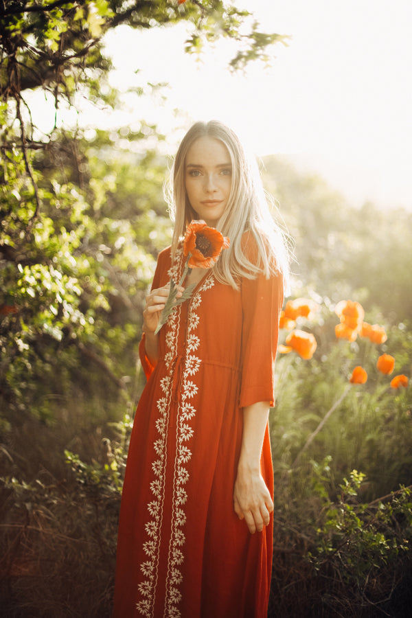 Piper & Scoot: The Cocinera Embroidered Dress in Poppy