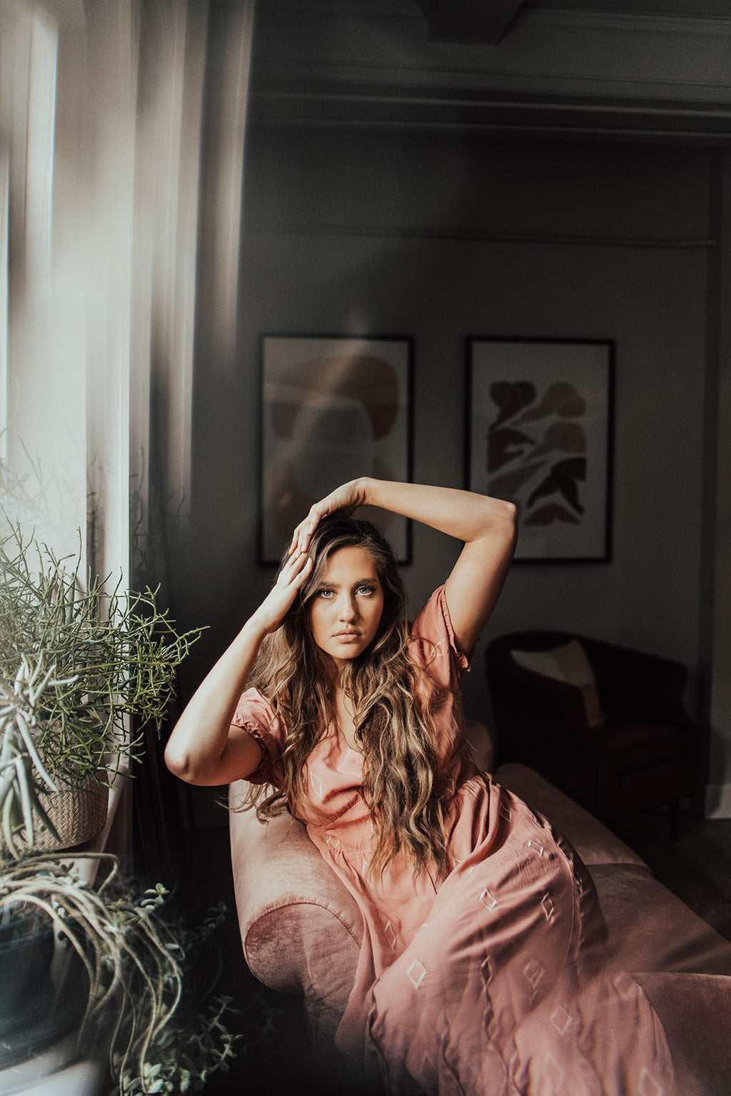 The Jessyca Maxi Dress in Dusty Rose, lifestyle shoot; front view