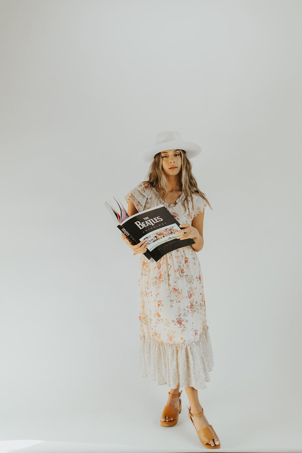 The Maryville Patterned Dress in Blush, studio shoot; front view