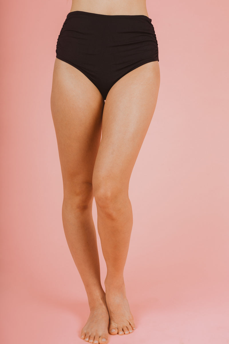 SWIM: Anne Cole Convertible High Waist Shirred Swim Bottom in Black