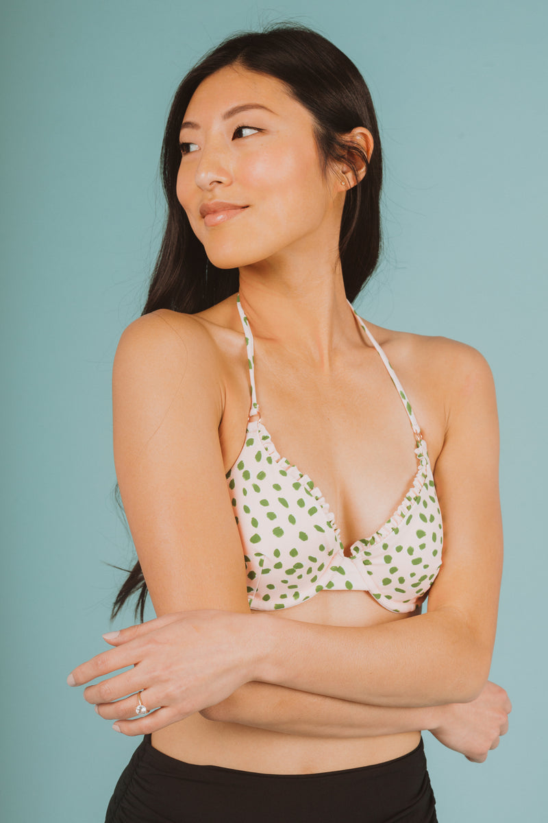 SWIM: Raisins Splash Bra Bikini Top in Leaf Green, studio shoot; front view
