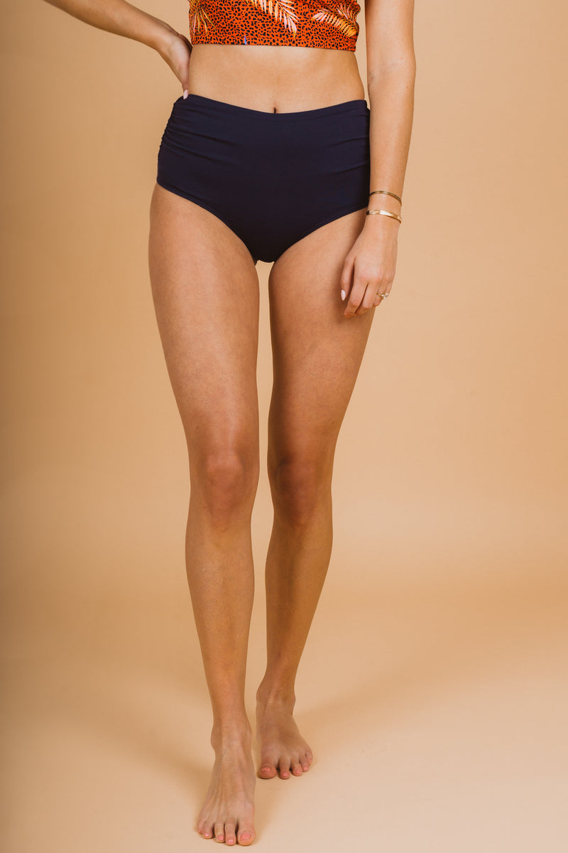 SWIM: Anne Cole Convertible High Waist Shirred Swim Bottom in Navy, studio shoot; front view
