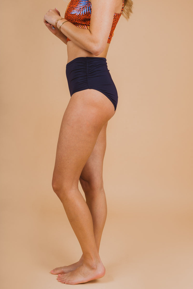 SWIM: Anne Cole Convertible High Waist Shirred Swim Bottom in Navy, studio shoot; side view