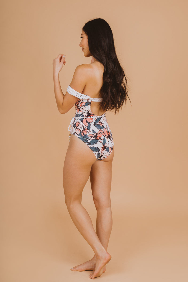 SWIM: Anne Cole Pieced Off The Shoulder One Piece, studio shoot; back view