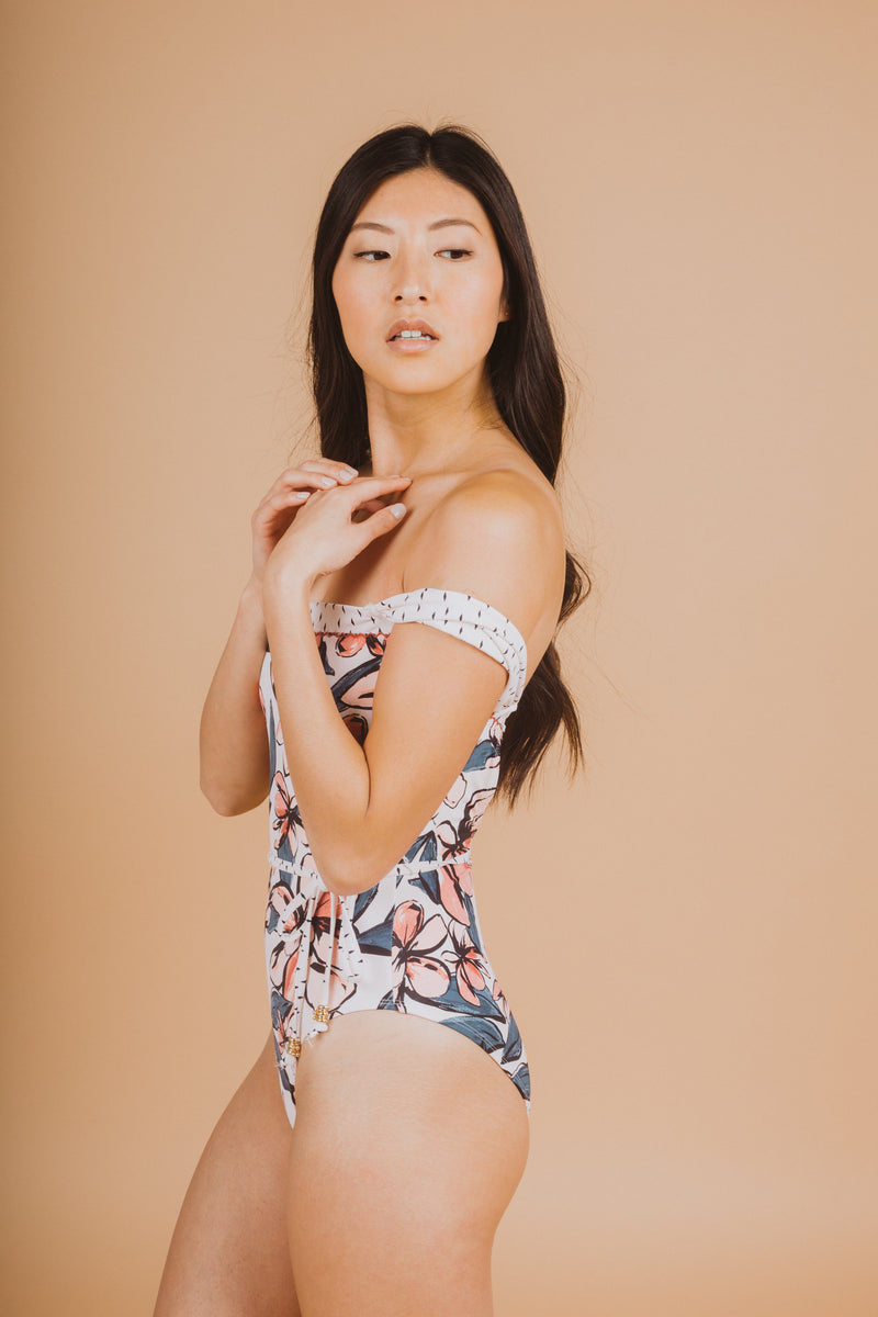 SWIM: Anne Cole Pieced Off The Shoulder One Piece, studio shoot; side view