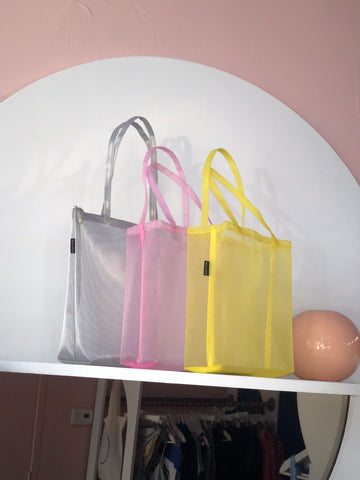 Walker Pink & Yellow Open Mesh Tote
