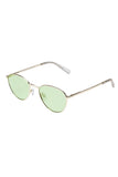 Le Specs gold wire frame sunglasses with green lenses