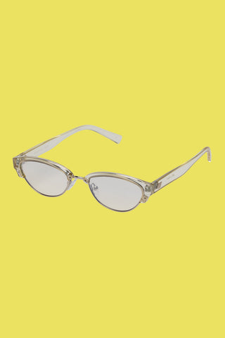 elongated futuristic translucent mint yuzu sunglasses