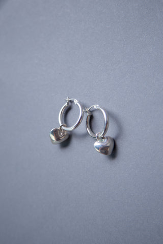 Tuza, Full Heart Charm Earrings. Shop these styles and more at Olive, an East Austin boutique.