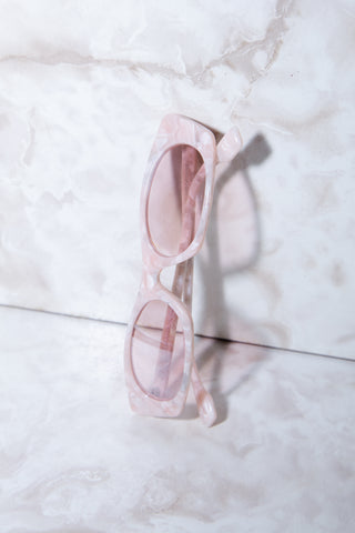 Pink rectangle sunglasses by Le Specs. Shop this style and more at Olive, an East Austin boutique.