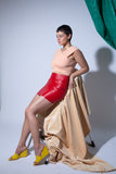 Vintage Cherry Bomb Skirt in leather