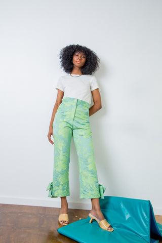 Suzanne Rae Bow Pant - OLIVE