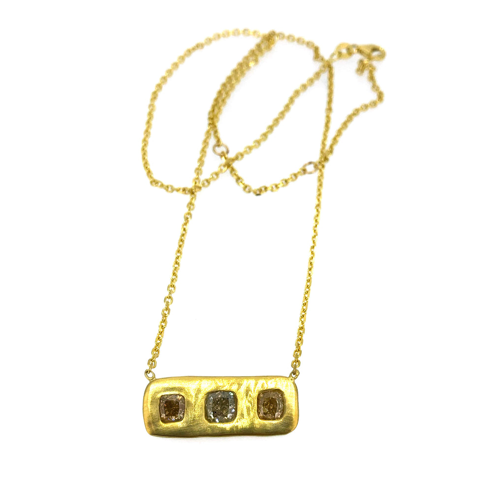Large Triple Diamond Bar Necklace