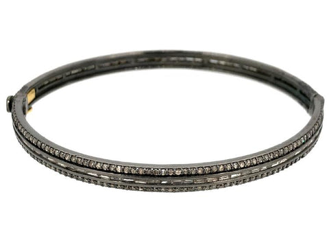 5 Row Diamond Square Bangle