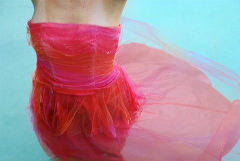 Pink Gown Blue Pool