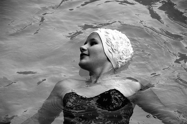 White Bathing Cap & Black Ball Gown