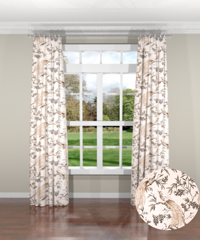 Aviary Taupe Custom Drapery Panel