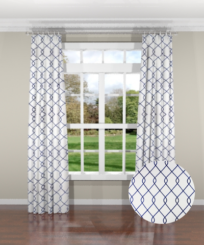 Embroidered Trellis Navy Custom Drapery Panel