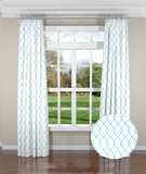 Embroidered Trellis Aqua Custom Drapery Panel