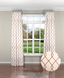 Embroidered Trellis Coral Custom Drapery Panel