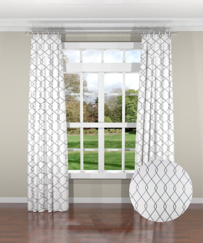 Embroidered Trellis Gray Custom Drapery Panel