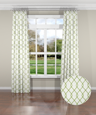 Embroidered Trellis Green Custom Drapery Panel