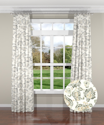 Floral Sketch Gray Custom Drapery Panel