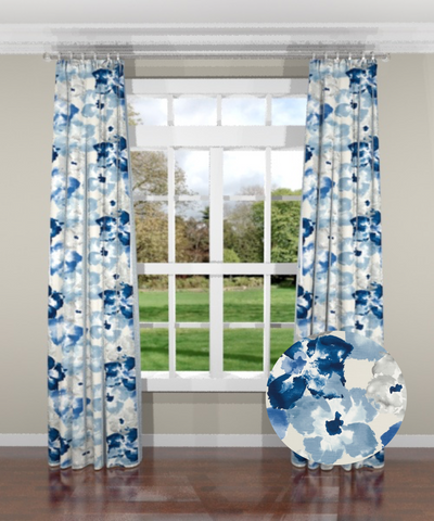 Flower Power Indigo Custom Drapery Panel