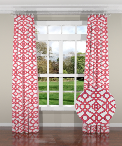 Garden Gate Coral Custom Drapery Panel