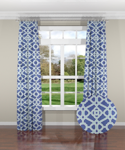 Garden Gate Indigo Custom Drapery Panel