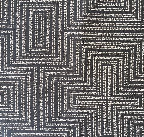 Dotted Maze Charcoal Fabric by the Yard