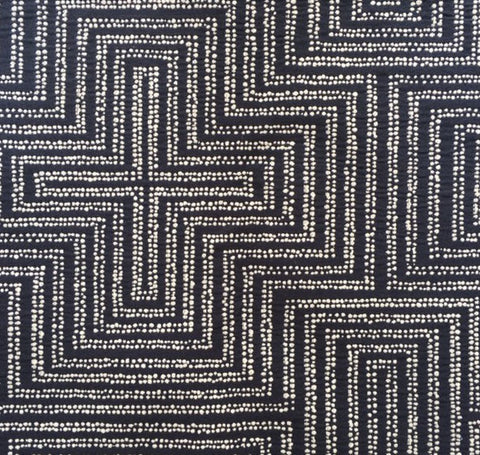 Dotted Maze Navy Fabric by the Yard