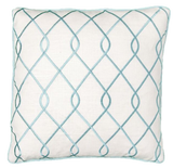 Embroidered Trellis Aqua Pillow Cover