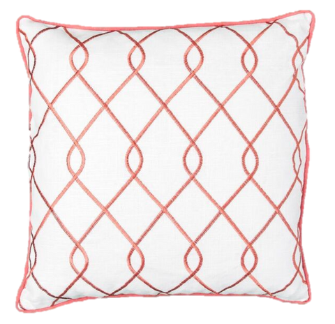 Embroidered Trellis Coral Pillow Cover