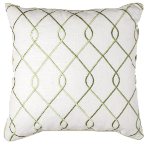 Embroidered Trellis Green Pillow Cover