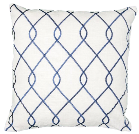 Embroidered Trellis Navy Pillow Cover