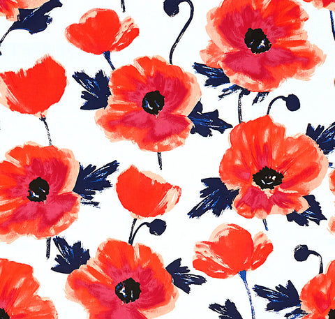 Poppies Coral Fabric Swatch