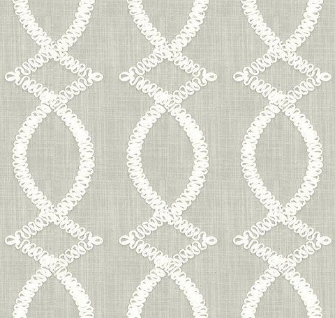 Ribbon Fret Taupe Fabric Swatch