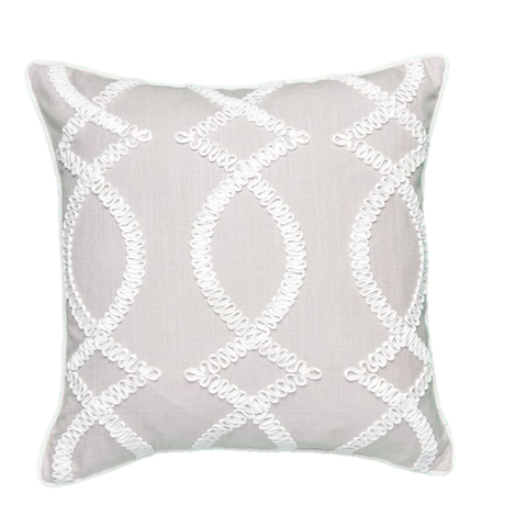 Ribbon Fret Taupe Pillow Cover