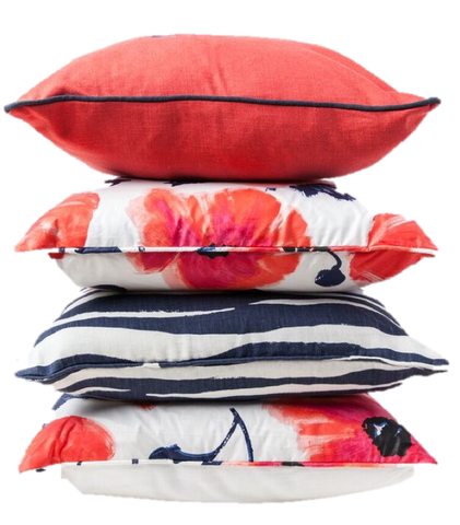 Navy and Coral Poppies Monogram Pillow Bundle