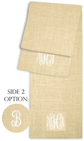 3-Letter Scroll Linen and White Two-Sided Table Runner
