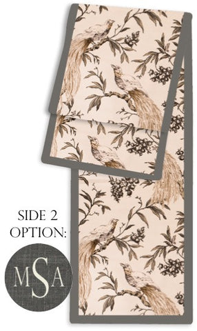 Aviary Taupe and Charcoal Two-Sided Table Runner