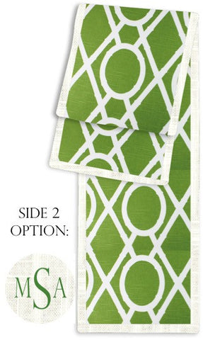 Bamboo Geo Green and Cream Two-Sided Table Runner