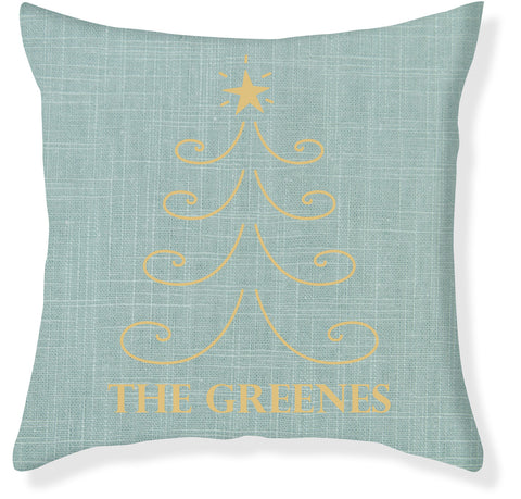 Aqua and Gold Christmas Pillow Cover