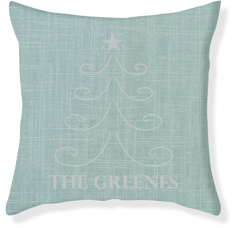 Aqua and Silver Christmas Pillow Cover