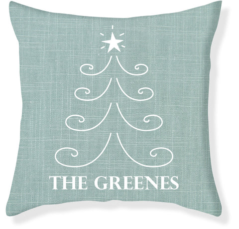 Aqua and Cream Christmas Pillow Cover