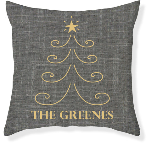 Charcoal and Gold Christmas Pillow Cover