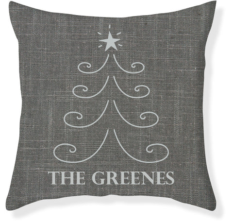 Charcoal and Silver Christmas Pillow Cover