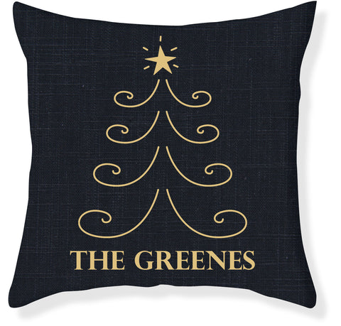 Navy and Gold Christmas Pillow Cover