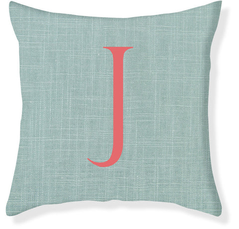 1-Letter Block Aqua and Coral Monogram Pillow Cover
